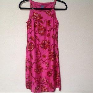 Ann Taylor SZ 0 pink Floral Silk Dress Chain Strap
